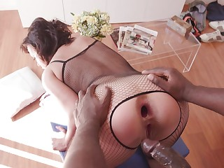 Mature amateur ends up being butt fucked by a black plan b mask