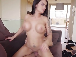 Buxom MILF with huge arse with the addition of big boobs rides giant horn