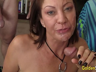Females Old and Young Take Turns Drilling Mature Battle-axe Vanessa Videl