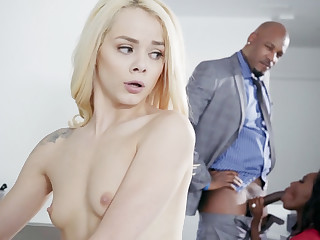 Hot blonde babe in threesome fuck