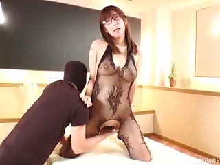 Nerdy Japanese gloom babe oiled up and fucked in fishnets