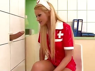 Unpredictable intensify light-haired nurse is gargling a drill trouser snake thru a gloryhole, just for the glee of it