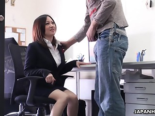 Cute brunette Ritsuko Tachibana swallows a boner in a difficulty office